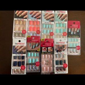 Impress press on manicure gel nails bundle lot